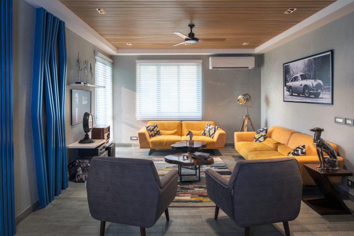 Salon style contemporain Jaune et gris