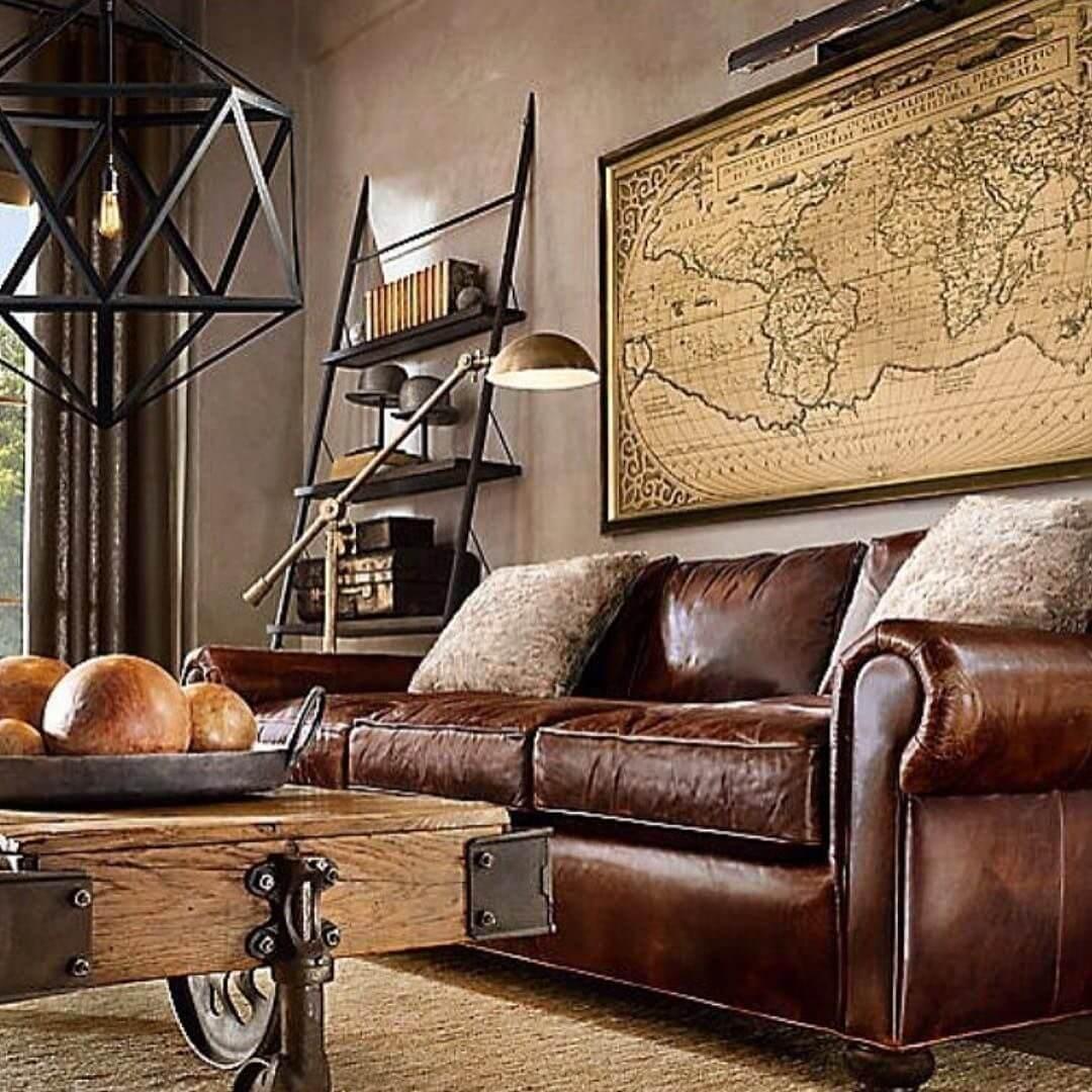 Ancienne carte comme décor industriel pour le salon