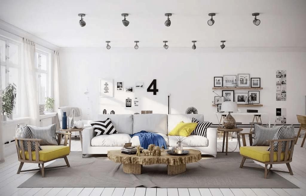 Accent jaune dans une chambre scandinave