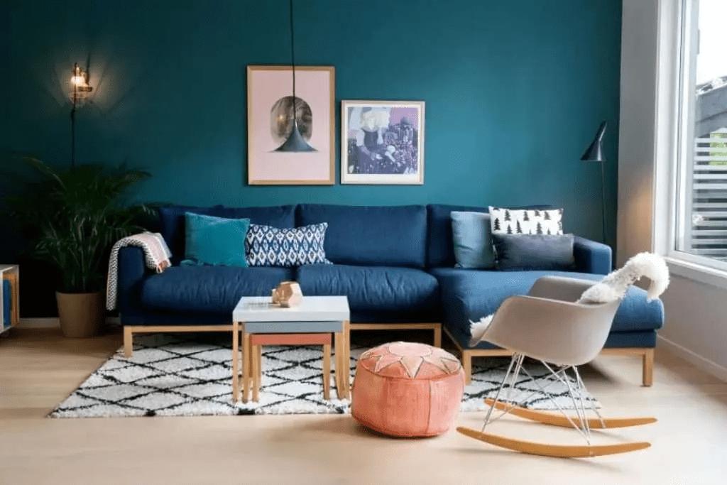 Design de chambre scandinave bleu dominant