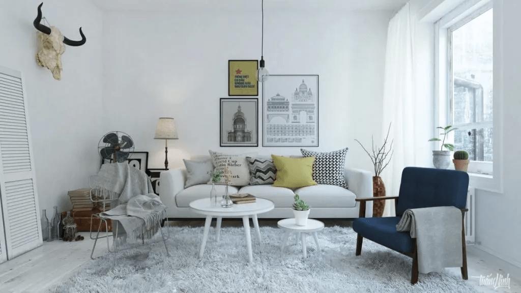 Salon de style scandinave léger et élégant