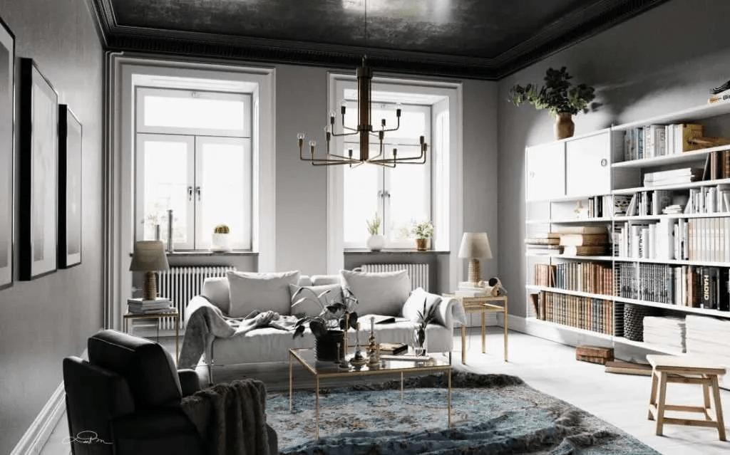 Salon gris nordique