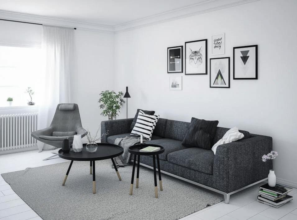 Salon scandinave monochrome audacieux