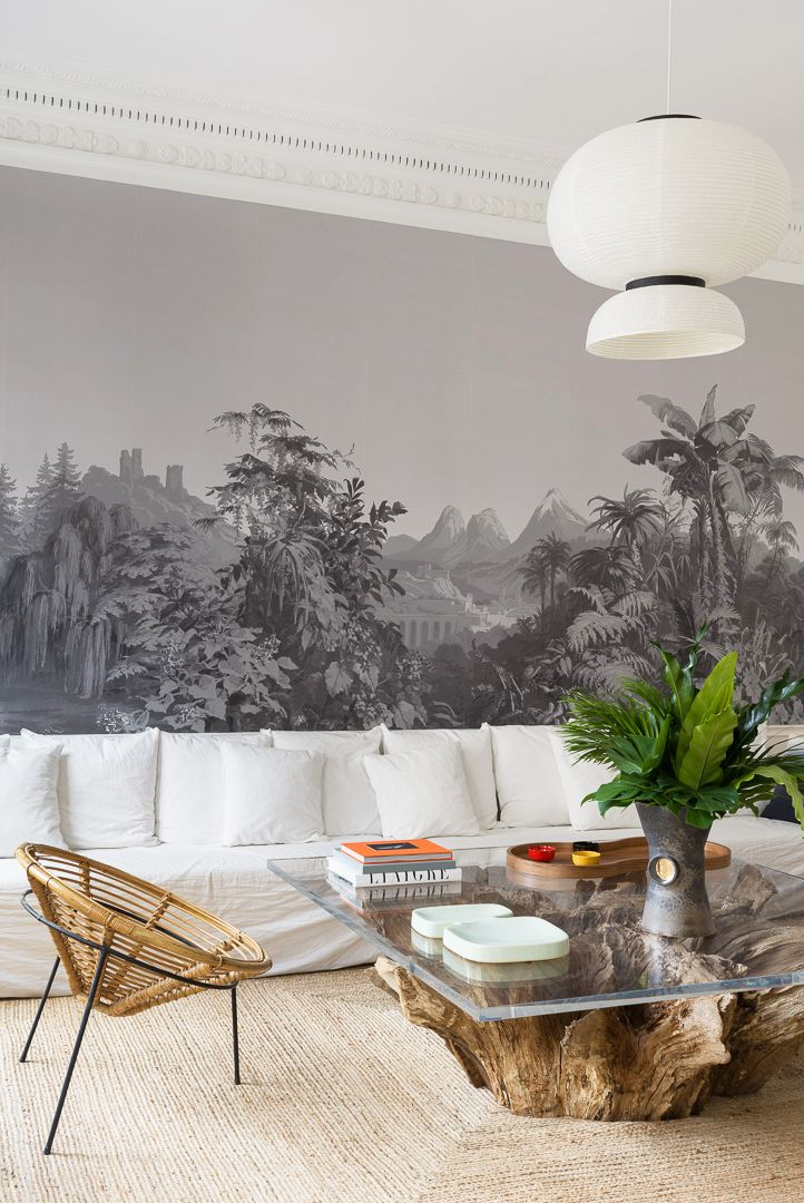 salon minimaliste appartement parisien éclectique