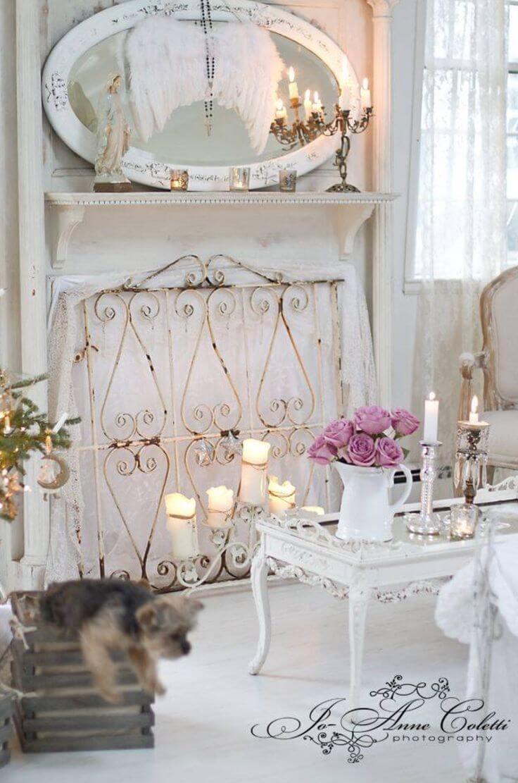 Miroir de cheminée avec ailes angéliques