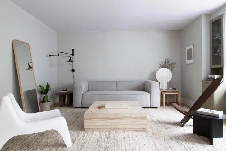 Salon courbe et géométrique minimaliste