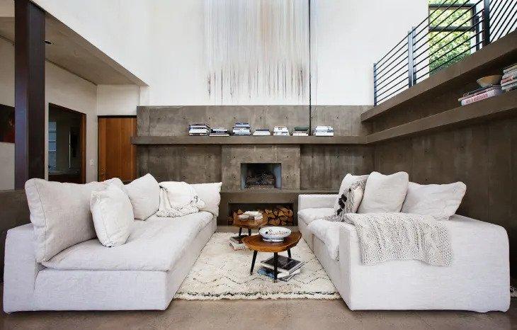 salon minimaliste original et brutal