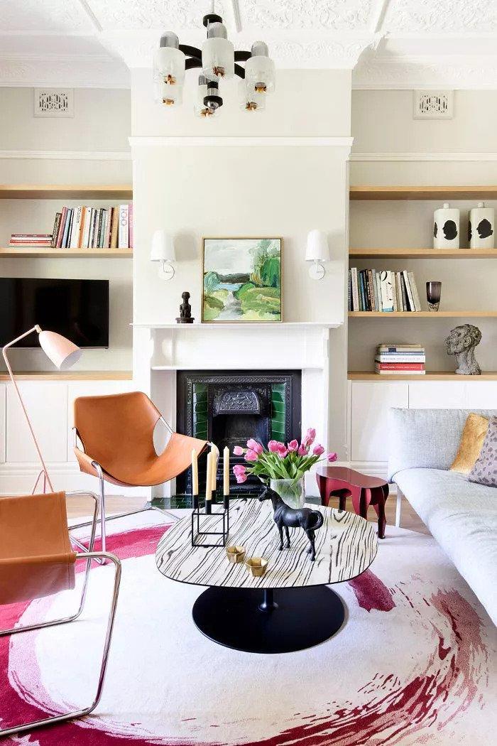 Salon contemporain - mélange parfait de chaleur et de fraîcheur