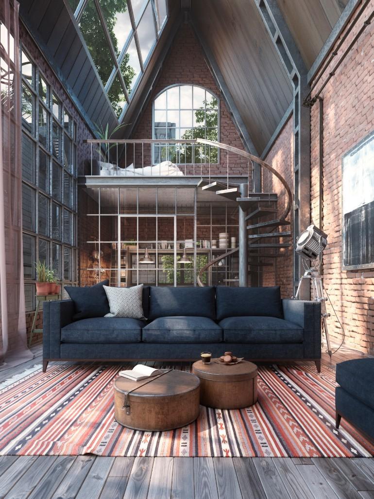 Idées de décoration de salon industriel sur deux étages