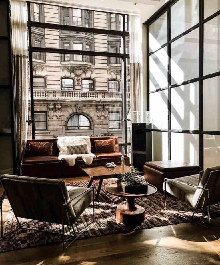 Idées de design de salon industriel luxueux