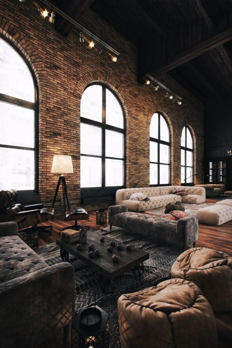 Idées de design de salon industriel