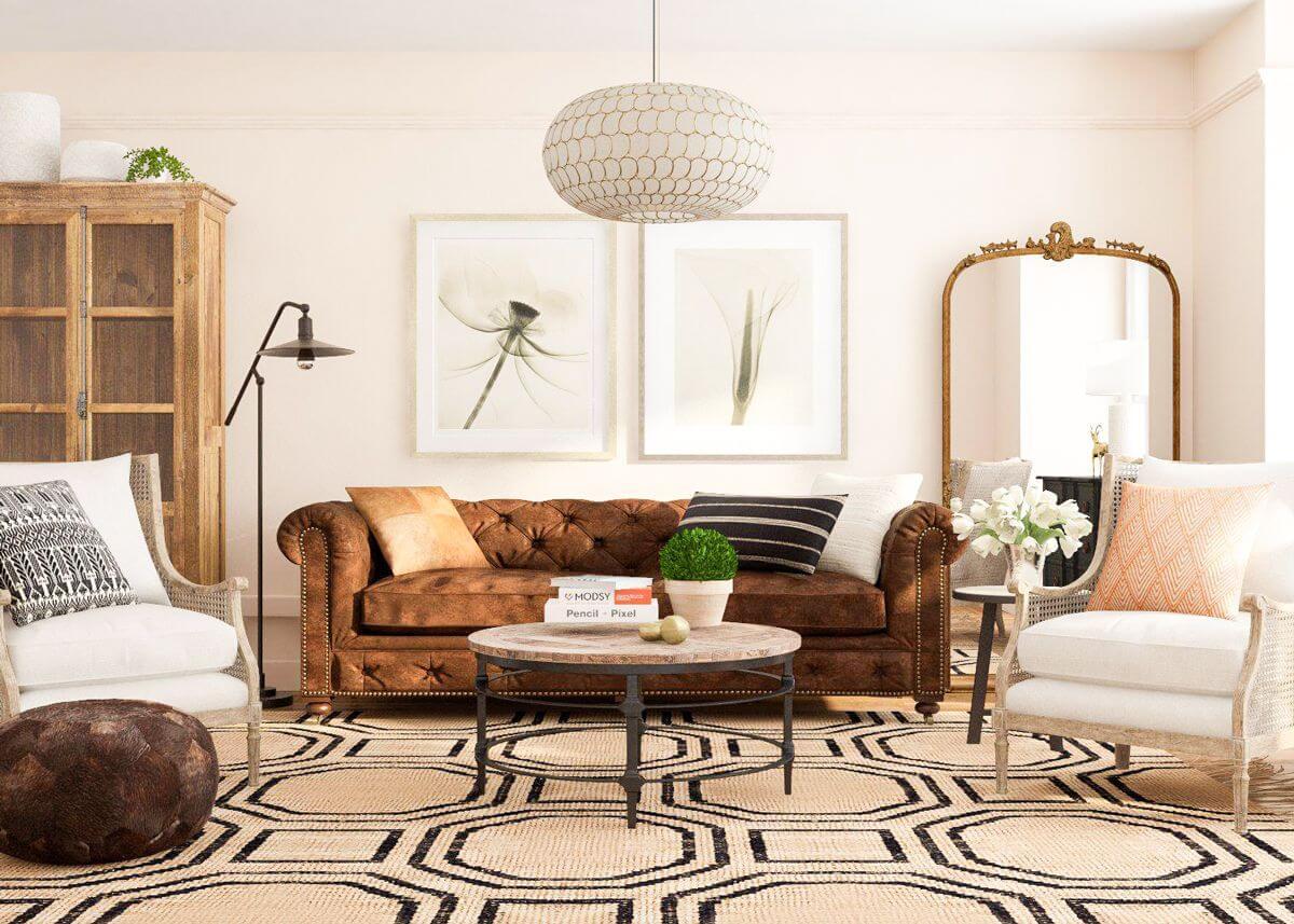 Salon rustique avec une touche classique