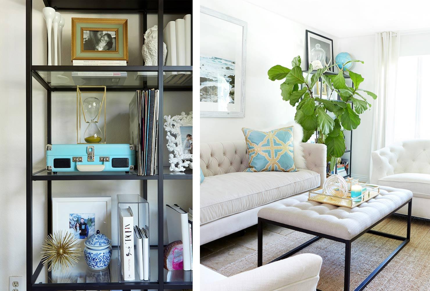 Petit salon bibliothèque décor canapé blanc