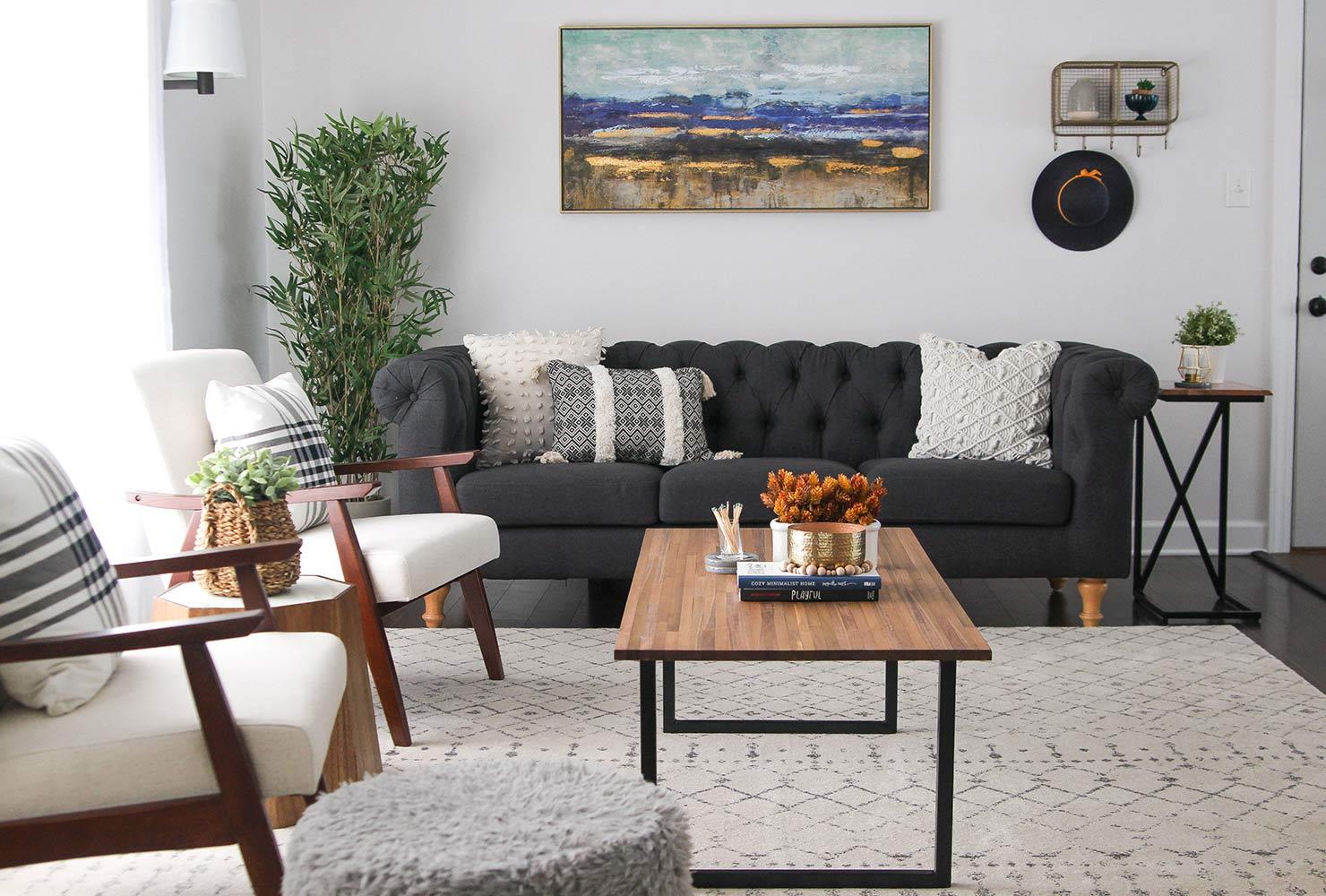 Petit salon moderne noir et blanc