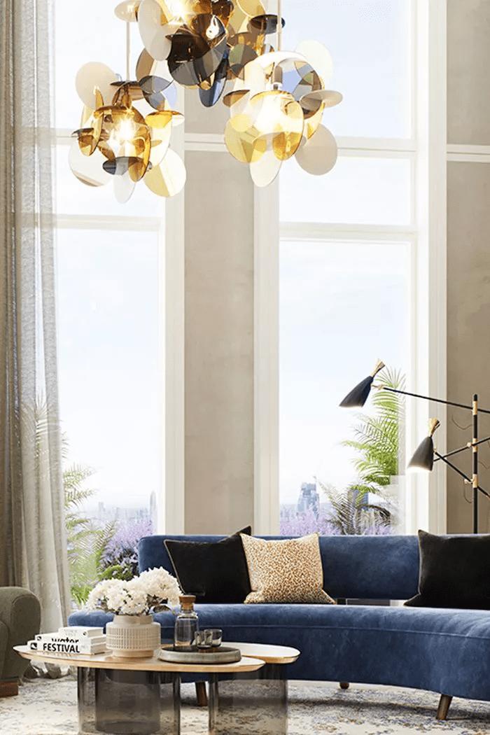 Salon zen et décontracté avec lumière naturelle