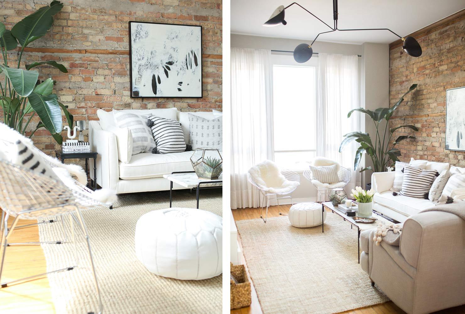 meubles blancs en briques ouvertes