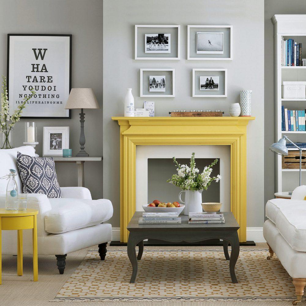 Idées de cheminée salon manteau jaune