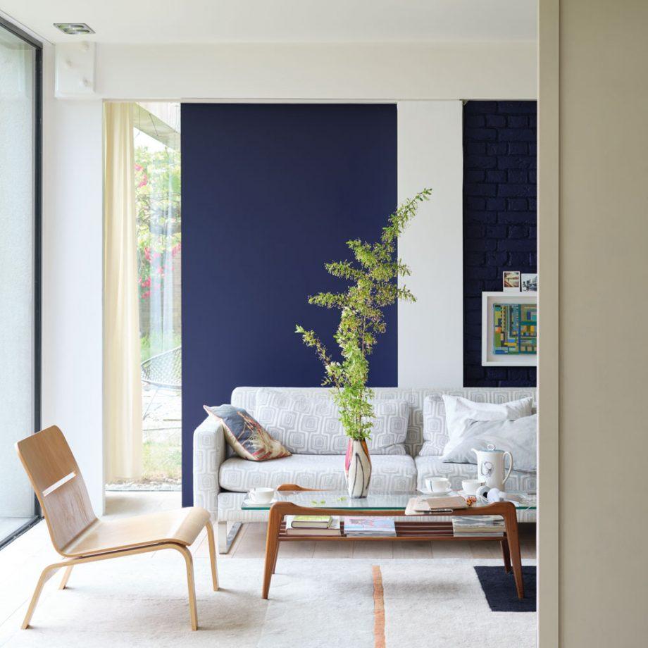 Idées de salon bleu ensoleillé
