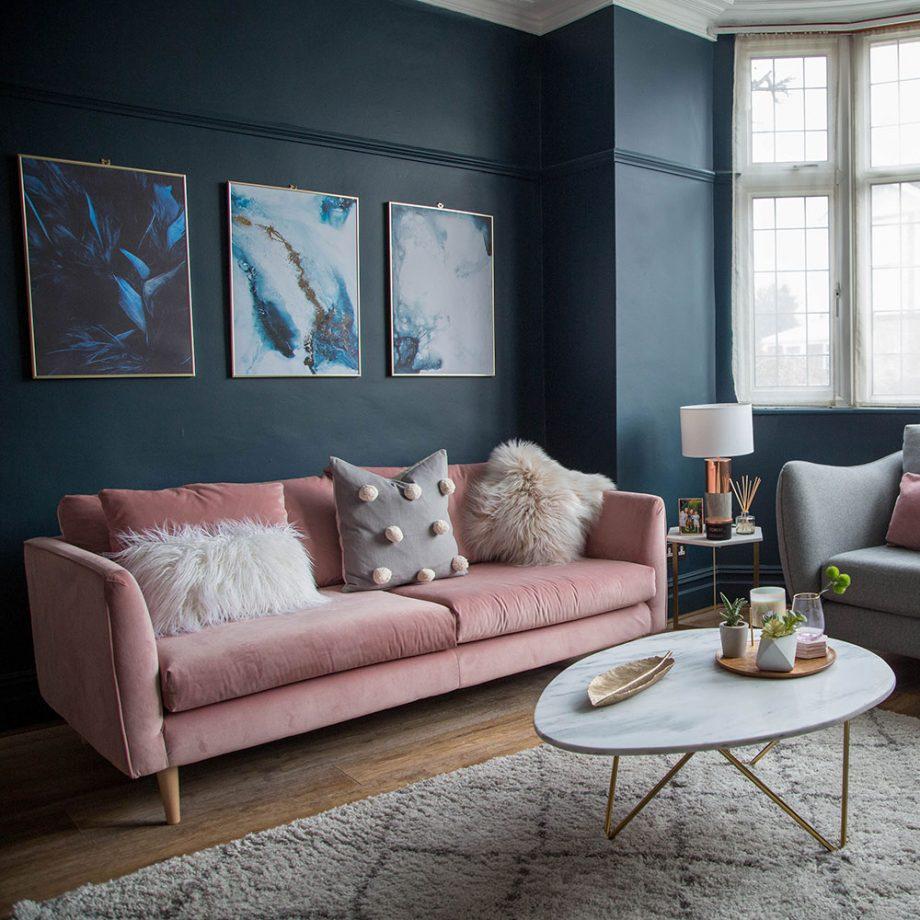 Idées de salon bleu foncé