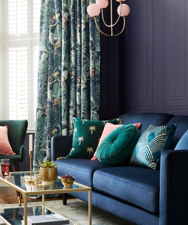 idées de salon bleu finitions opulentes