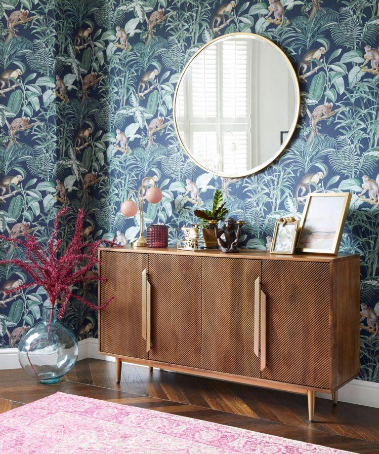 idées de salon bleu papier peint tropical